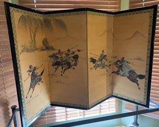 Antique Oriental Art Folding Wall Hanger Art