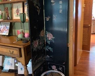 Antique Hand Carved Oriental Room Divider