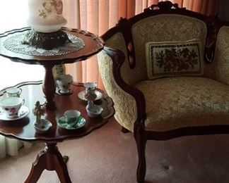 Two tier table and GWTW lamp