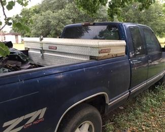 1995 Chevrolet Z71 4x4 work truck. 3rd gear does not work. 167,000 miles. Cannot open drivers door from the inside. No AC. No radio. Comes with tool box.  Fair to good tires. Inside is dirty and has some damage shown in pictures. Pick up in Needville. Selling as described.  We have disclosed all information.