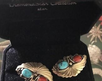 Nice sterling silver and turquoise earrings.