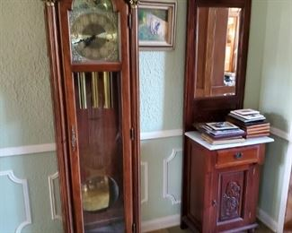 GRANDFATHER CLOCK AND ENTRY CABINET