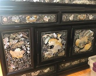 CHINESE BLACK LACQUER AND MOTHER-OF-PEARL CABINETS, PAIR , Exquisite