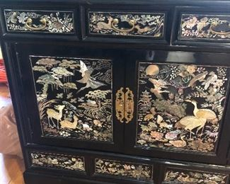 CHINESE BLACK LACQUER AND MOTHER-OF-PEARL CABINET