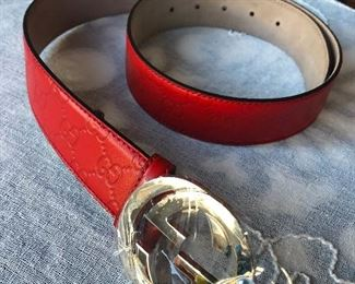 Gucci red belt size 36