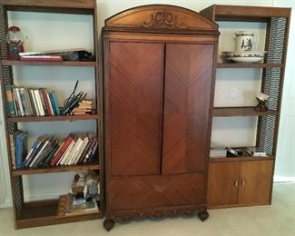 armoire and bookshelves