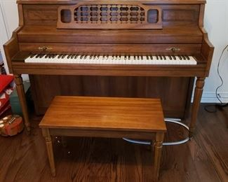 whitney by kimball upright piano w/bench