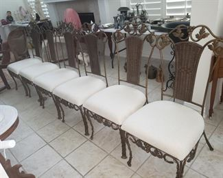 6 iron chairs with upholstered seats heavy and sturdy