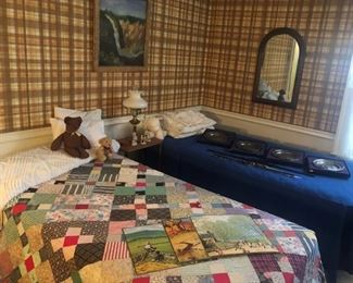 Several quilts in both bedrooms