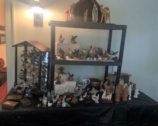 Collection of birds - Lenox and more. Goebel Nativity is only 1 of the hundreds of sets.