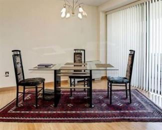glass dining room table, with 4 chairs, Persian wool rug