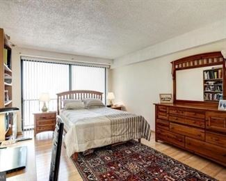 bedroom furniture: (head-bead and matress not for sale) wood dresser and two wood nightstands, Persian wool rug