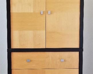 Matching Art Deco Black and blonde tall storage/entertainment dresser.