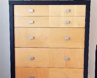Matching tall highboy bureau just like new. Lots of storage space. Modern Art Deco dresser look. Great metal wall art.