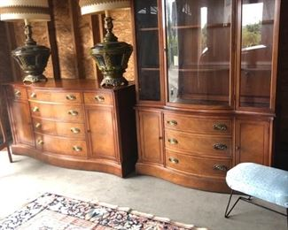 Sideboard & Hutch, 1940s, both with felt-lined drawers and in fantastic condition!