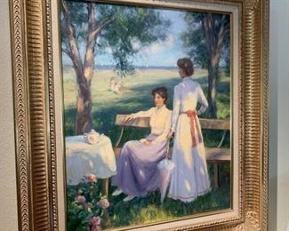 "Gregory F. Harris ""Tea Time"" oil on Canvas"