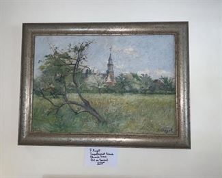 F. Ragot - Impressionist French Church Scene - oil on canvas