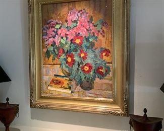 "Yuri Petrovich Dyakov ""Still Life w/Flowerrs"" oil on panel 1974"
