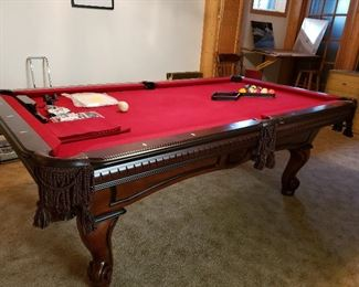 Spencer Marston Pool Table Standard (7x4)-Red Felt w/ Leather Side Pockets-9 & 8 Ball Racks,2 Action Sticks,2 Pool Cues,Bridge,Cue Rack ,Brushes and Chalk Included