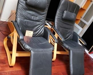 NEPSCO BACK SAVER CHAIRS IN BLACK LEATHER-DENMARK DESIGN..THESE ARE GORGEOUS AND AT A STEAL OF A PRICE TOO!