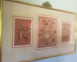 Antique Kimono framed embroidery