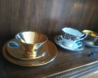 Exquisite collection of fine china teacups.