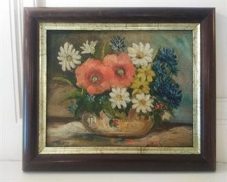 sweet floral oil painting signed