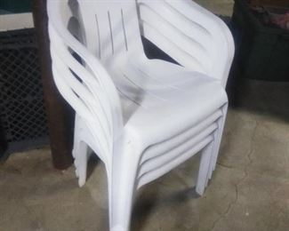 white plastic patio chairs (8 avail)