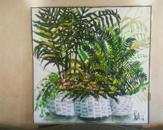 Lee Reynolds oil painting.  Hollywood regency style botanical. Signed lower right corner