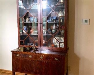 Incredible Antique Inlaid Mahogany Display Cabinet Sideboard