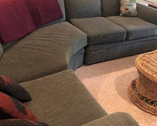 The sectional is three pieces and in perfect condition.