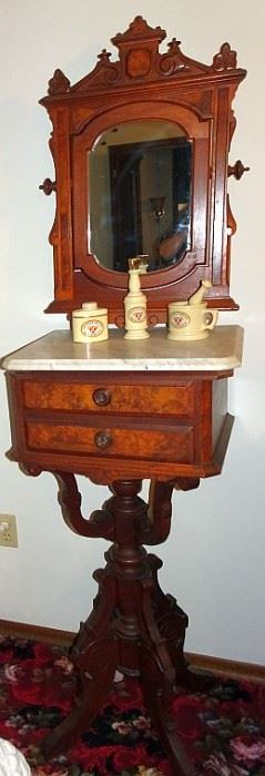 Walnut Victorian Marble Top Shaving Stand With Mirror