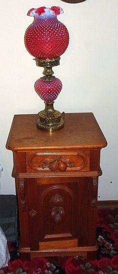 Walnut Victorian Half Commode/ Night Stand, Fenton Cranberry Hobnail Lamp