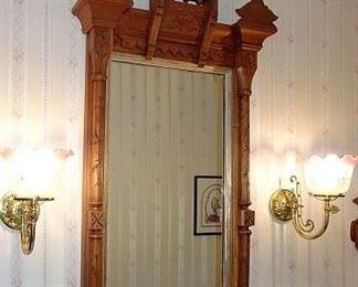 Walnut Victorian Wall Mirror