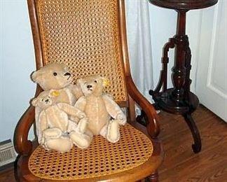 Walnut Victorian Caned Rocker, Fern Stand, Steiff Bears