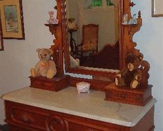 Walnut Victorian Marble Top Dresser