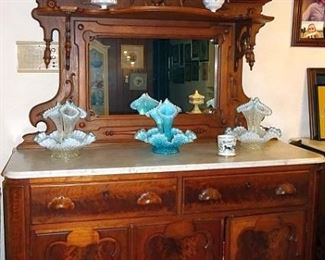 Walnut Victorian Marble Top Sideboard With Mirrored Back