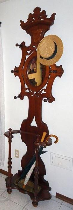 Walnut Victorian Mirrored Back Hall Tree