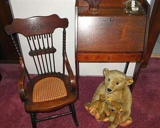 Child's Pressed Back Oak Rocker & Drop Front Desk, Steiff Teddy Bears