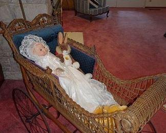Ornate Wicker Baby Buggy & Parasol