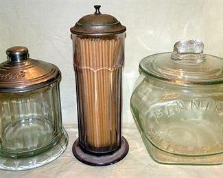 Bordens & Planters Peanut Jars, Glass Soda Fountain Straw Dispenser