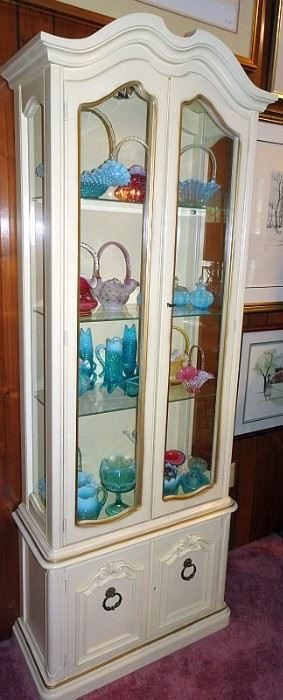 Pair of White French Style Curio Cabinets