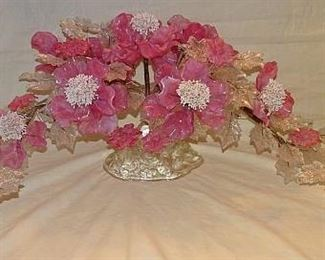 Glass Floral Centerpiece & Candle Holders