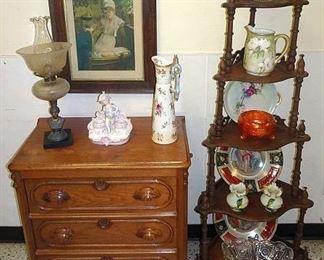 Walnut Victorian Washstand & What Not Shelf