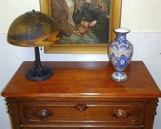 Walnut Victorian 3 Drawer Chest, Reverse Painted Scenic Lamp