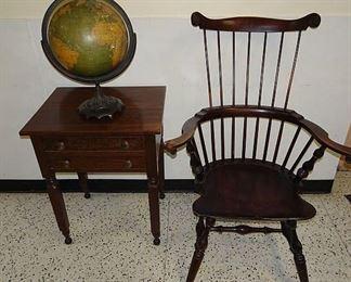 Custom Comb Back Windsor, 2 Drawer Stand & Early Globe