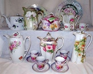 Hand Painted China, Chocolate & Tea Pots, Cracker Jars, Plates