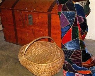 Early Dome Top Immigrants Trunk W/ Original Key, Crazy Quilt, Gathering Basket