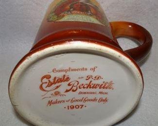Round Oak Stoves & Ranges Advertising Mug W/ Indian Dated 1907