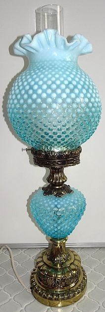 Blue Opalescent Fenton Lamp